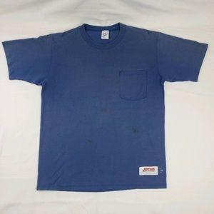 Vintage Jerzees Super T Pocket Shirt Blue L USA